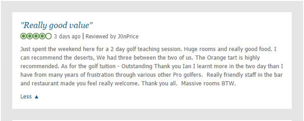 Review of the 2 day golf school